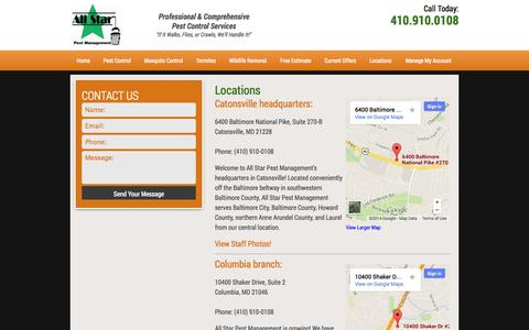 Screenshot of Locations Page allstarpestmanagement.com - Locations | All Star Pest Management - captured Sept. 30, 2014