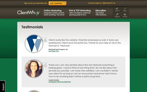 Screenshot of Testimonials Page clientwhys.com - ClientWhys Websites help you Attract, Retain, and Manage Your Clients Better. - captured Jan. 24, 2016