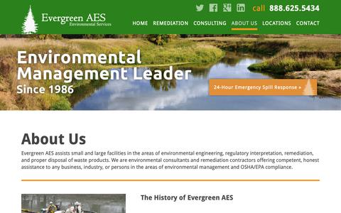 Screenshot of About Page evergreenaes.com - About Evergreen Environmental | American-Enviro Services - captured Sept. 29, 2018
