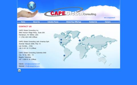 Screenshot of Contact Page capeglobal.com - Contact Us | Cape Global - captured Oct. 1, 2014
