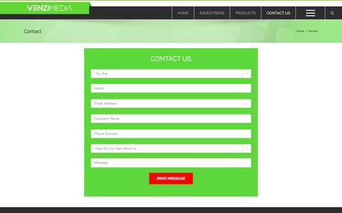 Screenshot of Contact Page venzimedia.com - Contact Us - VenziMedia    Cross Device and Cross Platform Advertising - captured Jan. 10, 2016