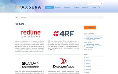 Screenshot of Products Page axsera.com - Wireless Broadband Engineering and Technical Support - captured Sept. 24, 2018