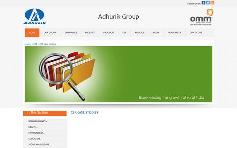 Screenshot of Case Studies Page adhunikgroup.com - Adhunik Group of Industries - captured Jan. 21, 2016