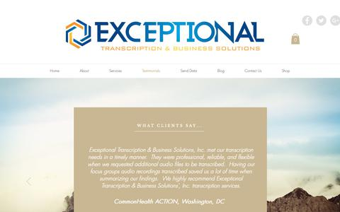 Screenshot of Testimonials Page exceptionaltbs.com - Exceptional Transcription Testimonials - captured Sept. 30, 2018