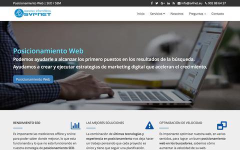 Screenshot of Home Page svfnet.eu - Posicionamiento Web en Buscadores   SEO y SEM   Madrid - captured Feb. 11, 2018