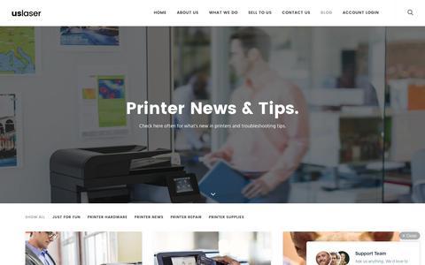 Screenshot of Blog Press Page uslaserinc.com - Printer Solutions Blog - USL 2016 - captured July 22, 2016