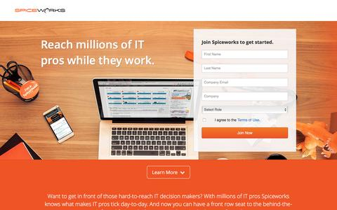 Screenshot of Landing Page spiceworks.com - Tech Marketing | Connecting the IT Buyer & IT Marketer - Spiceworks - captured Dec. 14, 2015