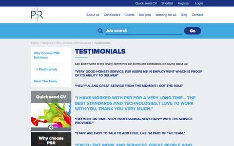 Screenshot of Testimonials Page psrsolutions.co.uk - Testimonials   PSR Solutions - captured May 13, 2017