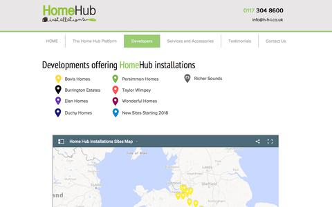Screenshot of Developers Page Locations Page homehubinstallations.co.uk - h-h-i | Developers - captured July 21, 2018