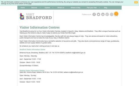 Screenshot of Contact Page visitbradford.com - Visitor Information Centres - captured Jan. 13, 2018