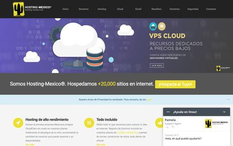 Screenshot of Home Page hosting-mexico.net - Hosting-Mexico® - Hosting en Mexico Barato, Dominios, Servidores Dedicados, Cpanel, Web Hosting en Mexico - captured Oct. 19, 2018