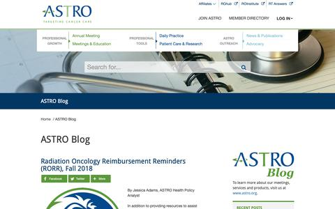 Screenshot of Blog astro.org - ASTRO Blog- American Society for Radiation Oncology (ASTRO) - American Society for Radiation Oncology (ASTRO) - captured Nov. 12, 2018