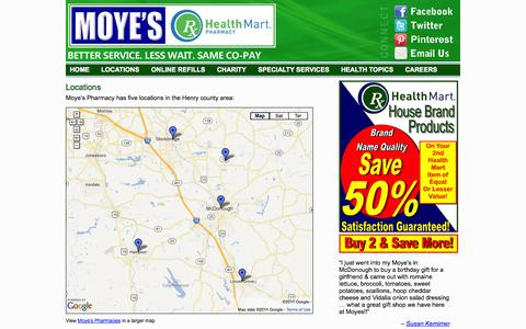 Screenshot of Locations Page moyespharmacy.com - Locations - Moye's Pharmacy | Moye's Pharmacy - captured Oct. 7, 2014