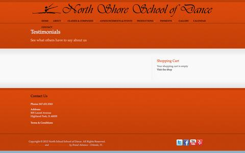 Screenshot of Testimonials Page northshoredance.com - Testimonials - North Shore School of Dance - captured Feb. 15, 2016