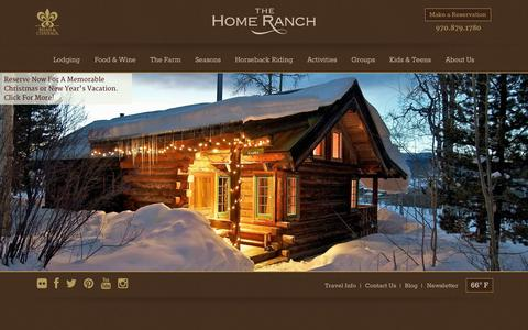Screenshot of Home Page homeranch.com - All Inclusive Vacations in Colorado - Dude Ranch Vacations - captured Oct. 7, 2014