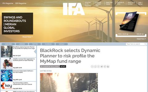 Screenshot of Press Page ifamagazine.com - BlackRock selects Dynamic Planner to risk profile the MyMap fund range - captured Sept. 2, 2019