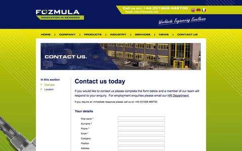 Screenshot of Contact Page fozmula.com - Fozmula | The fuel level sender and liquid level specialists - captured Oct. 1, 2014
