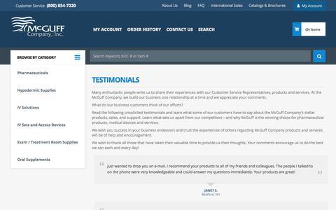 Screenshot of Testimonials Page mcguffmedical.com - Testimonials | McGuff Medical Products - captured Oct. 18, 2017