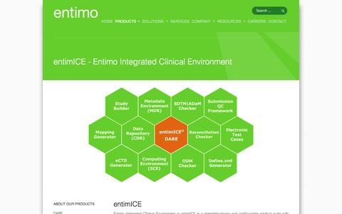 Screenshot of Products Page entimo.com - entimICE - captured Aug. 11, 2017