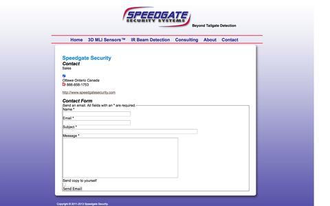 Screenshot of Contact Page speedgatesecurity.com - Contact - captured Oct. 7, 2014