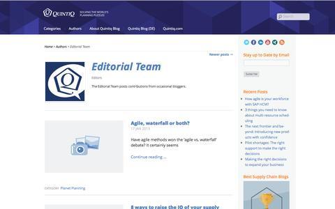 Screenshot of Team Page quintiq.com - Editorial Team - Quintiq Blog - captured Oct. 24, 2016