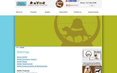 Screenshot of Site Map Page gopetusa.com - Sitemap - GoPet Dog TreadMills and TreadWheels - captured Oct. 8, 2014