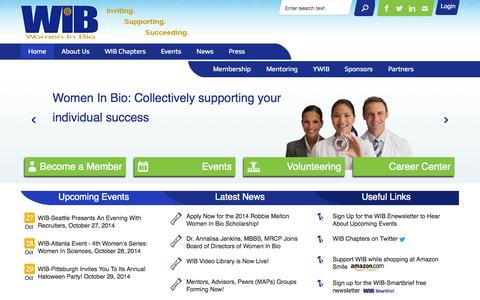 Screenshot of Menu Page womeninbio.org - ~:: WIB :: Women In Bio ::~ - captured Oct. 26, 2014