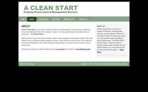Screenshot of About Page acleanstart.net - About - A Clean Start - captured Sept. 27, 2014