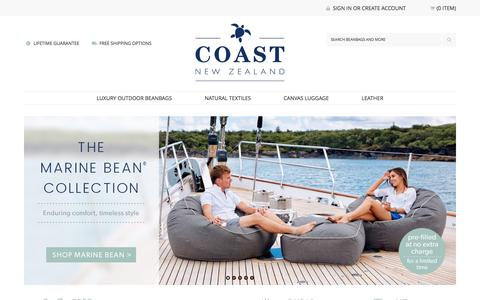 Coast New Zealand  |  Luxury Outdoor Beanbags  |  Canvas Luggage  |  Natural Textiles  |  Leather Accessories