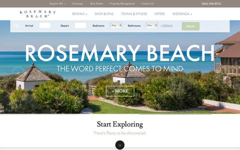 Screenshot of Home Page rosemarybeach.com - Rosemary Beach® in Northwest Florida | Rosemary Beach Vacations - captured Jan. 26, 2015
