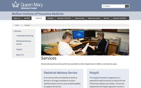 Screenshot of Services Page qmul.ac.uk - Wolfson Institute - Services | Wolfson Institute - captured May 24, 2016