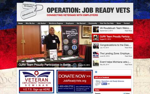 Screenshot of Home Page jobreadyvets.org - Operation: Job Ready Vets - Connecting Veterans with Employers - captured Oct. 1, 2014