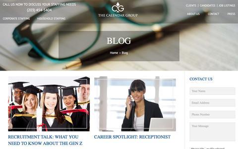 Screenshot of Blog thecalendargroup.com - Domestic & Corporate Staffing Blog| The Calendar Group - captured Sept. 20, 2018