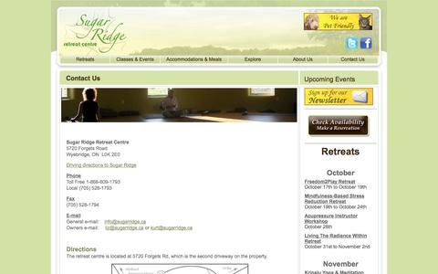 Screenshot of Contact Page Maps & Directions Page sugarridge.ca - Contact Us | Sugar Ridge Retreat Centre - captured Oct. 25, 2014