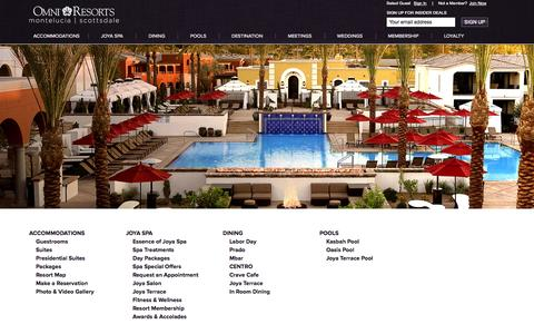 Screenshot of Site Map Page montelucia.com - Omni Montelucia Sitemap | Omni Scottsdale Resort & Spa at Montelucia - captured Sept. 19, 2014