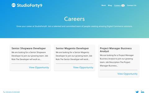 Screenshot of Jobs Page studioforty9.com - Careers - StudioForty9 - captured Oct. 20, 2018