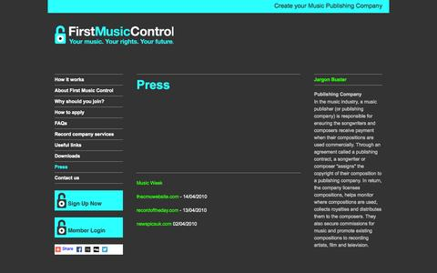 Screenshot of Press Page firstmusiccontrol.com - First Music Control - captured Sept. 30, 2014