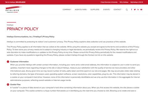Screenshot of Privacy Page intelisys.com - Privacy Policy - Intelisys - captured Jan. 9, 2016