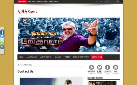 Screenshot of Contact Page ajithfans.info - Contact Us  | AJITHFANS.info - Actor Ajith kumar | Shalini Ajith kumar | Anushka Ajith kumar | Latest Ajith News - captured May 3, 2016