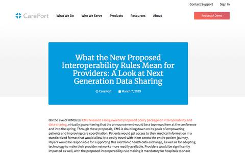 Screenshot of Blog careporthealth.com - What the New Proposed Interoperability Rules Mean for Providers: A Look at Next Generation Data Sharing - Careport Health - captured Feb. 20, 2020