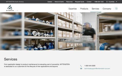 Screenshot of Services Page wittenstein-us.com - Services - WITTENSTEIN North America - captured Oct. 19, 2017