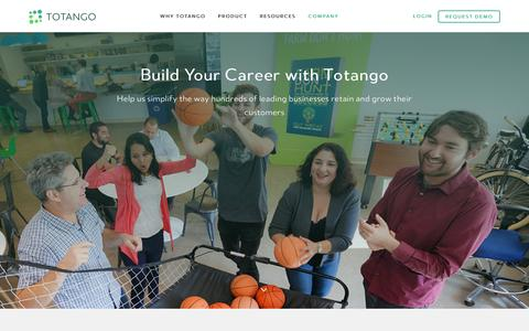 Screenshot of Jobs Page totango.com - Careers | Totango | Customer Success Software - captured Nov. 12, 2016