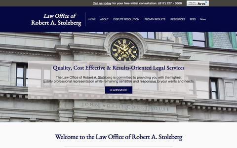Screenshot of Home Page bigonlaw.com - Law Office of Robert A. Stolzberg - captured Jan. 26, 2016
