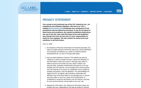 Screenshot of Privacy Page ccllabel.com - CCL LABEL Worldwide » Privacy Policy - captured Sept. 26, 2014