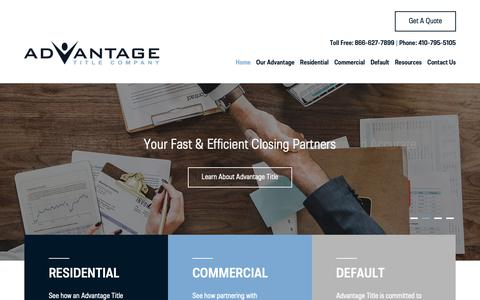 Screenshot of Home Page advantitle.com - Advantage Title Company - captured Dec. 18, 2018
