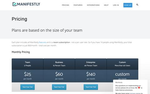 Screenshot of Pricing Page manifest.ly - Manifestly says… - captured Feb. 21, 2019