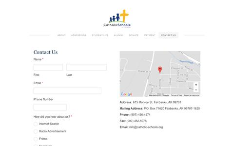 Screenshot of Contact Page catholic-schools.org - Contact Us - Catholic Schools of Fairbanks - captured Oct. 20, 2017