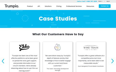 Screenshot of Case Studies Page trumpia.com - Case Studies | Trumpia - captured March 29, 2019