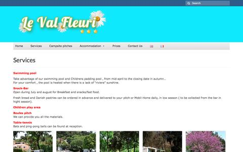Screenshot of Services Page campingvalfleuri.fr - Services – Campside Val Fleuri - captured March 23, 2017