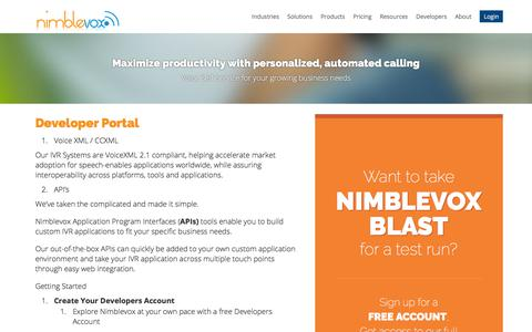 Screenshot of Developers Page nimblevox.com - Developer Portal | Nimblevox Hosted IVR - captured July 6, 2018